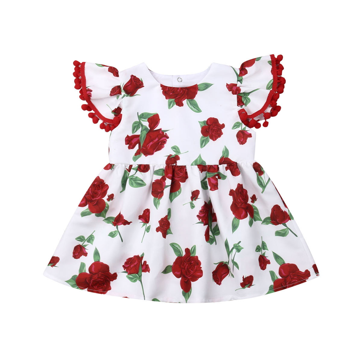 2019 Summer Kids Baby Girl Fly Sleeve Rose Flower Princess Girls Dress Formal Pageant Party Holiday Dresses Clothes