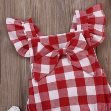 Kids Baby Girl Red Plaid Romper Fly Sleeve Clothes 0-18M