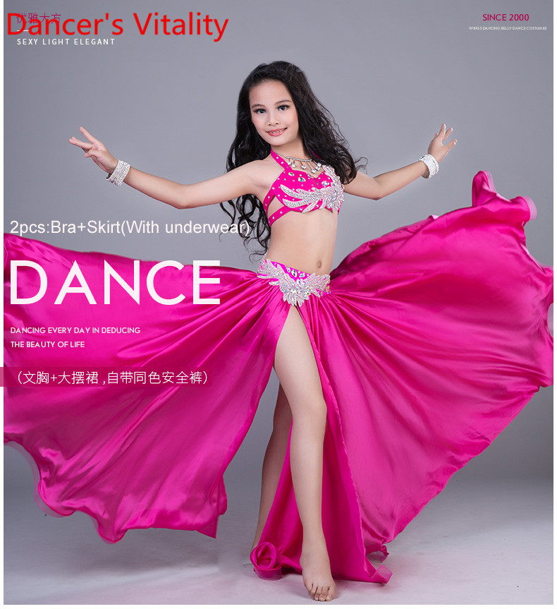 Children Belly Dance Costumes Child Ballroom Dance Performance clothes Rhinestones Bra Skirt 2pcs Girls Dance Suit