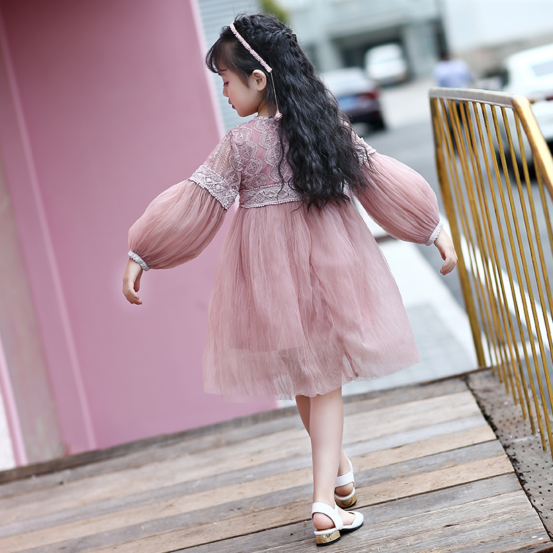 2017 new summer and autumn girls girl ladies yarn bubble sleeves fresh dress girl dress