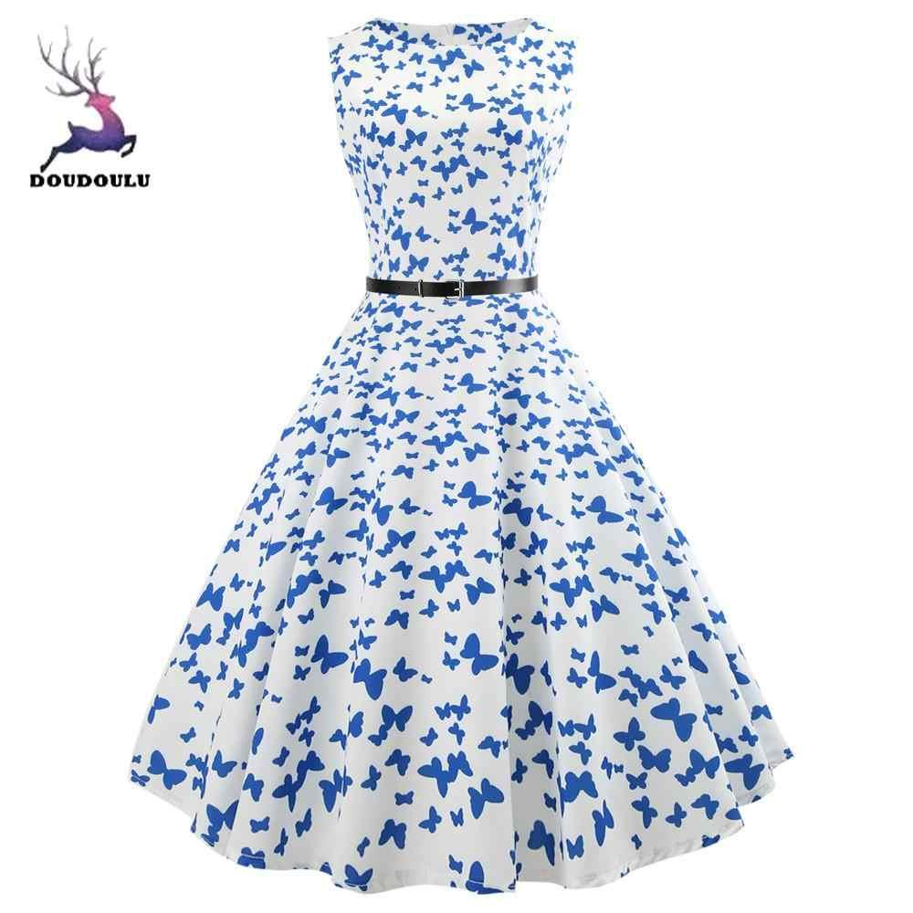 """DOUDOULU kobiet kobiet sukienki letnie kobiety w stylu Vintage, bez rękawów, dekolt w kształcie litery """"wieczór wieczorny"""", Prom sukienka swingowa sukienka plus rozmiar #30"""