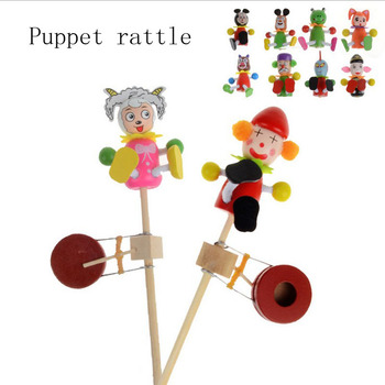 The new children's educational cartoon hand puppet rattle wooden drum beat the drum baby rattle Toys