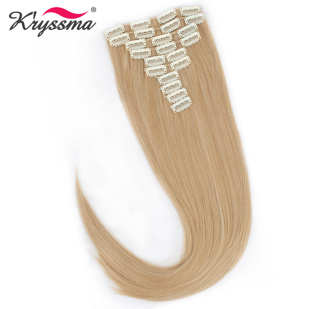 Kryssma Long Straight 10pcs/set 24 inches Synthetic Hair Extensions 200g Fake Hairpieces Hidden Invisible 22 Clips per Set
