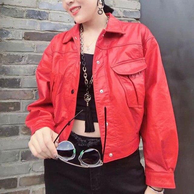 f3eb41ebf2d0 Hollow Black beige Leather Jackets women bomber baseball jacket ladies  jacket Rivet Stud jaquetas couro femininas Casaco leren