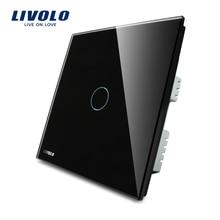 Livolo, Interruptor de toque, Black Pearl Painel de Vidro Cristal Interruptor de Parede REINO UNIDO Padrão de Toque Digital Interruptor de Luz AC 220-250 VL-C301-62