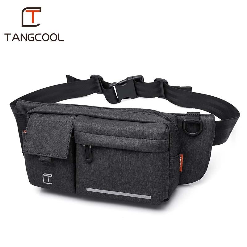 Tangcool hombres negro impermeable bolsas de cintura para hombres moda hombres cigarrillo teléfono caso cinturón de dinero para viajes de seguridad al aire libre paquete de la cintura
