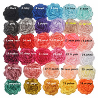 10pcs 9.5CM Satin Chiffon Ribbon Fabric Jewelry Flowers handmade Patch Stickers Ornament Accessories Girls Hair Clips Headband