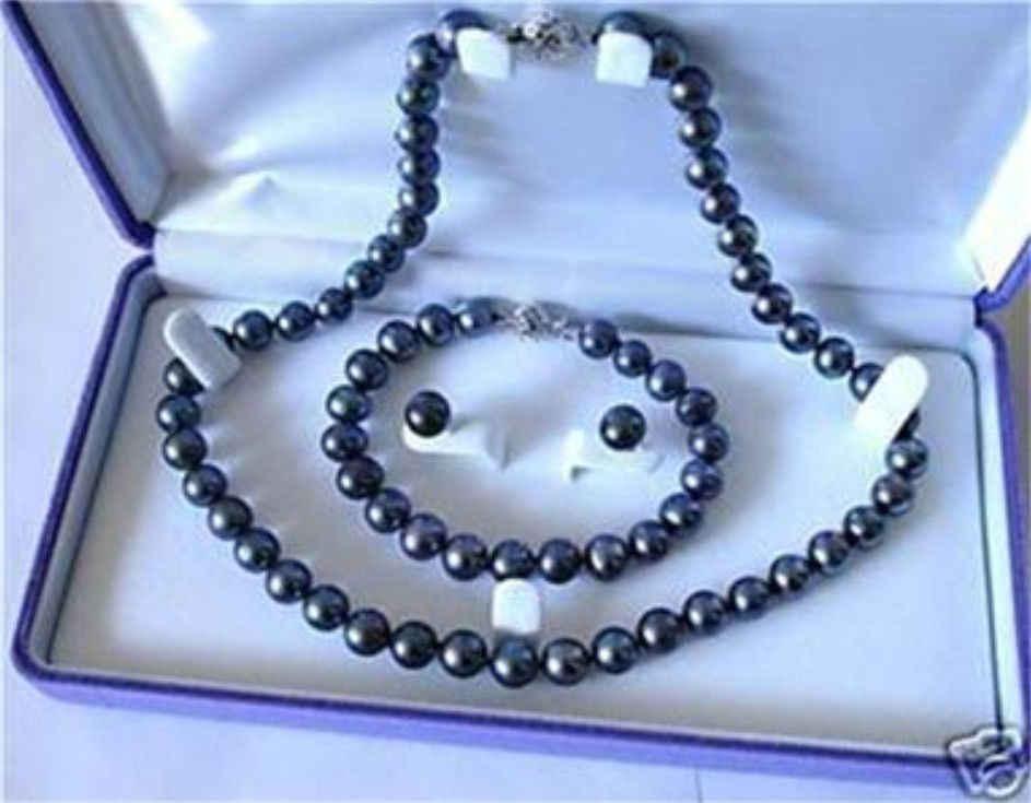 Charming! 7-8mm Schwarze perle halskette armband ohrring set frauen heißer verkauf schmuck großhandel und einzelhandel