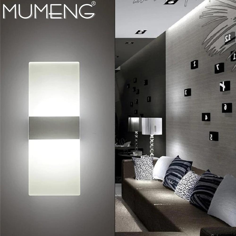 mumeng led Wall Lamp 6W Bedroom Bedside Light Aluminum ... on Led Sconce Lighting id=15357
