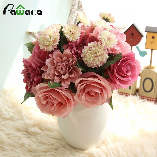Aliexpress buy artificial silk flower colorful rose fake artificial silk flower colorful rose fake flower bouquet for home party wedding decorative flowers hybrid flores mightylinksfo