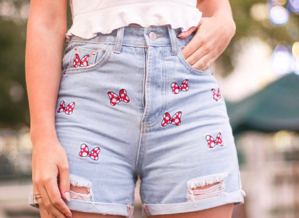 Withered Mom Denim Shorts Women High Street Vintage High Waist Short Feminino  Bow Embroidery Washed Mom Short Women Plus Size