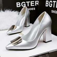 2016 Sweet Thick Heel Female Pumps Spring High Heels Platform  Pointed Toe OL Women Shoes