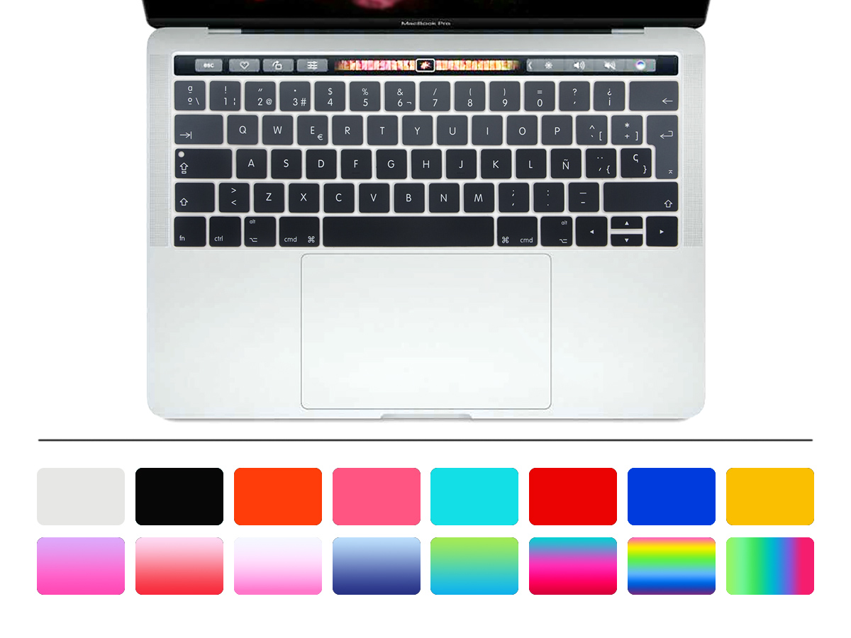 50pcs EU/UK Rainbow Spanish Silicone Keyboard Cover Skin for New Mac Pro 13 Inch and Pro 15 Inch (2016 VERSION,with Touch Bar)