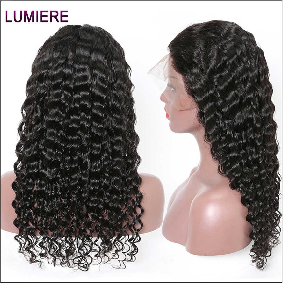Lumiere волосы бразильские глубокая волна человеческих волос парики 360 фронтальный парик шнурка предварительно сорвал с волосами младенца не Реми волос парик шнурка