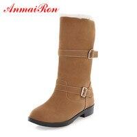 ANMAIRON Winter Women S Shoes Flock Mid Calf Slip On Women Boots Round Toe Hejght Increasing