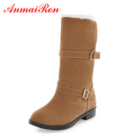 ANMAIRON Winter Women;s Shoes Flock Mid Calf Slip on Women Boots Round Toe Hejght Increasing Short Plush Metal Decoraction Boots