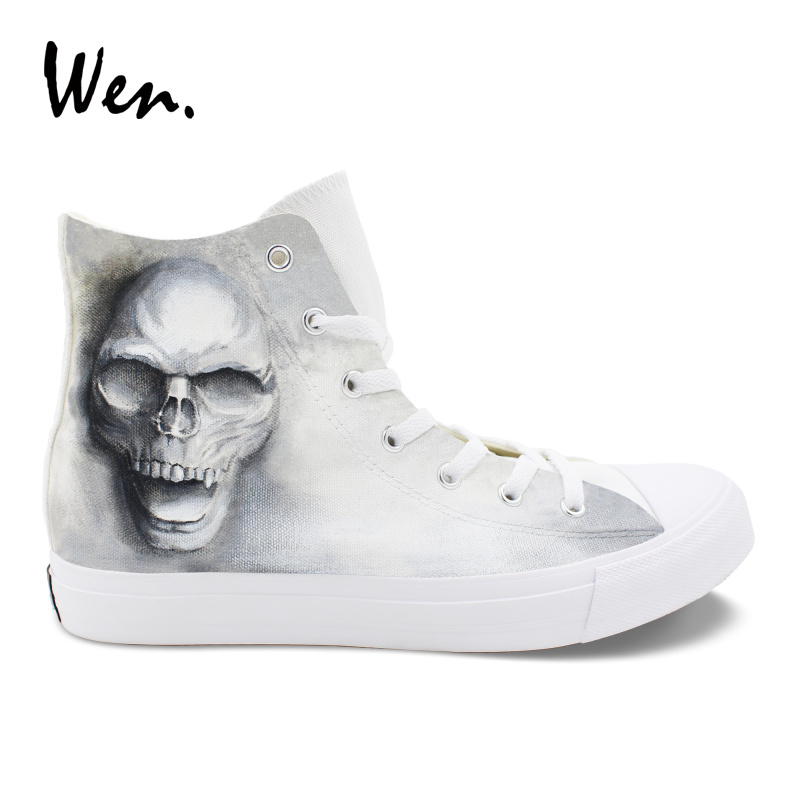 Wen High Top Grey Sneakers Skull Zombie Original Design Female Male's Canvas Shoes for Skateboarding Hand Painted Unisex Shoes wen giraffe canvas shoes classic white hand painted animal sneakers sports high top skateboarding shoes for man woman
