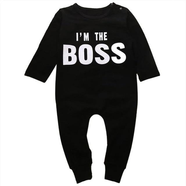 54a6d887e 0 24M Newborn Baby Boys Girls Clothes Long Sleeve Cotton Boss Romper ...