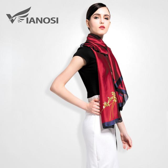 [Vianosi] moda feminina bohemia estilo xaile do lenço de seda da marca de luxo impresso carta cachecol feminino lenços macios va013