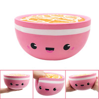 Kawaii Jumbo Pink Rice Bowl Stress Reliever Scented Super Slow Rising Kids Toy Stress Reliever Toys for Children W624
