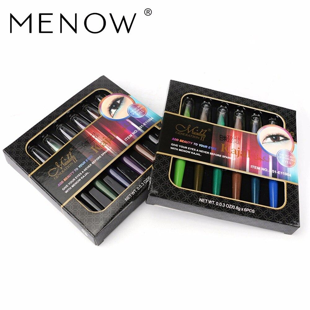 MENOW Марка Цвета Водонепроницаемый долгосрочная Высокая Яркость Тени для век набор ручек 6 Цвет для коробки Тени для век Ручка Make Up Set e11004
