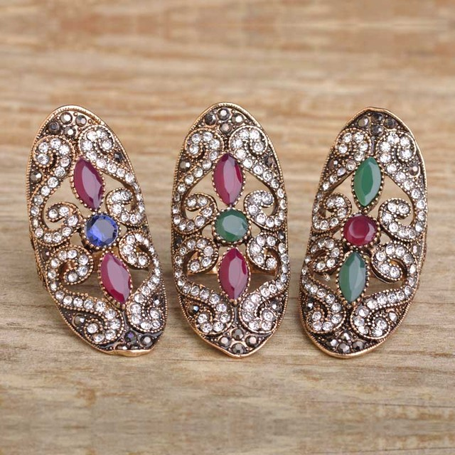 Blucome Turkish Vintage Resin Crystals Big Long Rings For Women Finger Aneis Anel Antique Gold Plated Party Women Turkey Rings