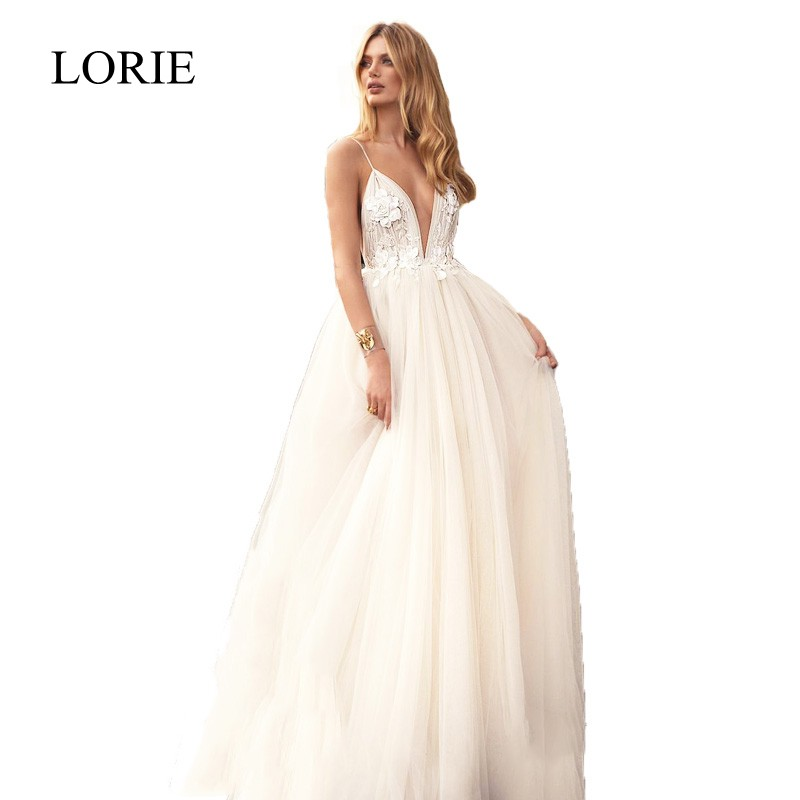 Beach Wedding Dress Backless 2018 LORIE Vestido De Noiva Princesa Sexy Bridal Dress Tulle A Line Wedding Dresses Spaghetti Strap