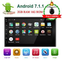 2 din car radio Android system 2G RAM+16G ROM For Universal Cars with Wifi Mirror Link Camera Map Free Upgrade to Android 9.0
