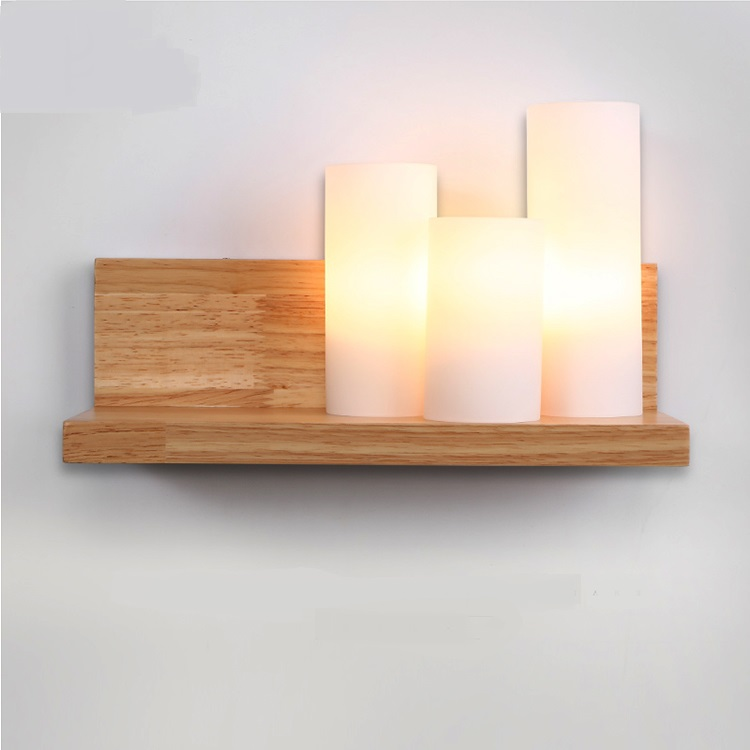 Modern simple candle wall lights solid wood+white Glass shade bedroom living room bedside Personality creative wall lamp ZA 2 lights modern creative metal wall light simple glass shade wall sconces fixtures lighting for hallway bedroom bedside wl282 2