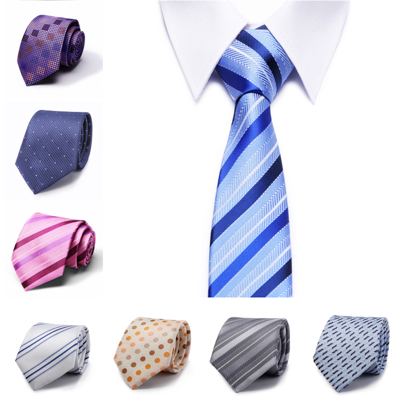 Office Gruop Ties Solid Striped Tie Silk Woven Jacquard Men's  Suits Accesories  Ties Necktie 8cm Width Wedding Party Tie