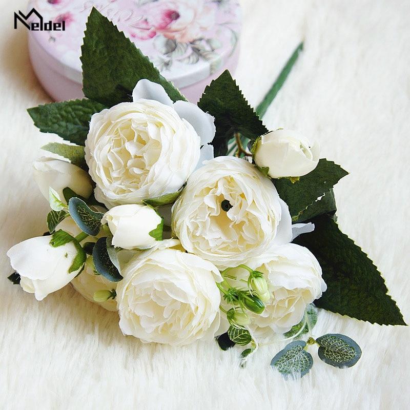 silk flowers artificial peonies bouquet rose wedding home decoration (5)