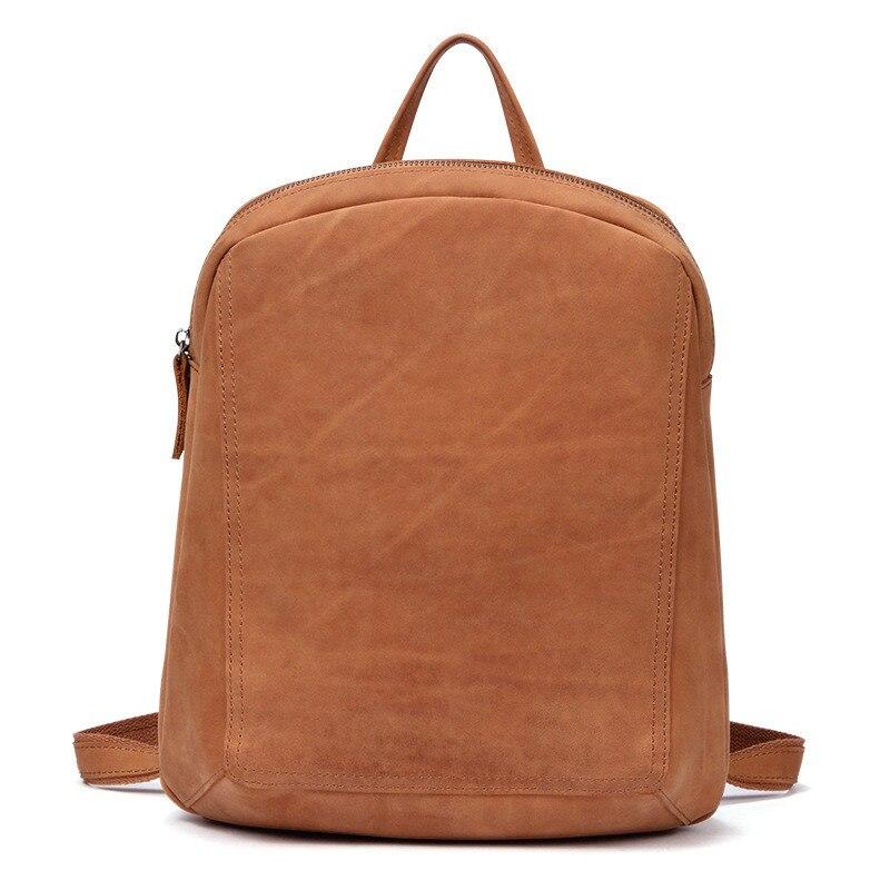 Rétro en cuir véritable femmes sacs à dos femme brun première couche en cuir sacs à bandoulière mode dames multi fonction sac à dos-in Sacs à dos from Baggages et sacs    2