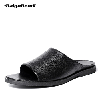New Men Casual Sandals Business Man Outdoor Real Leather Slippers Shoes Summer Beach Slides