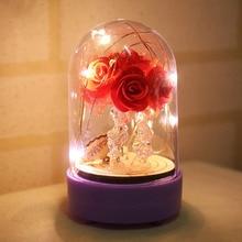 Светодиодный светильник-гирлянда из медной проволоки, ночник, купольная лампа, домашний декор, Ночной светильник с наилучшими пожеланиями, ночная лампа с розами, подарки для влюбленных
