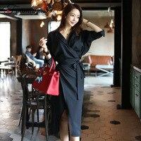 Foamlina Korean OL Style Autumn Sexy Dress Women 2018 V Neck Long Sleeve Sashes Wrap Front Split Casual Work Office Pencil Dress
