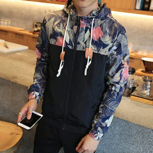 Flower Printed New 2018 Jacket Men Fashion Casual Loose Outerwear Zipper Type Mens Thin & Short Coat Male Hoodies Spring Bomber