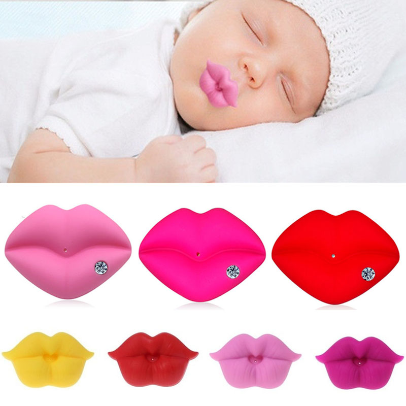Silicone Soother Pacifier Baby Kiss Pacifier Infant Toddler Pacifier Kiss Mouth Diamond Gifts Silicone Funny Sexy