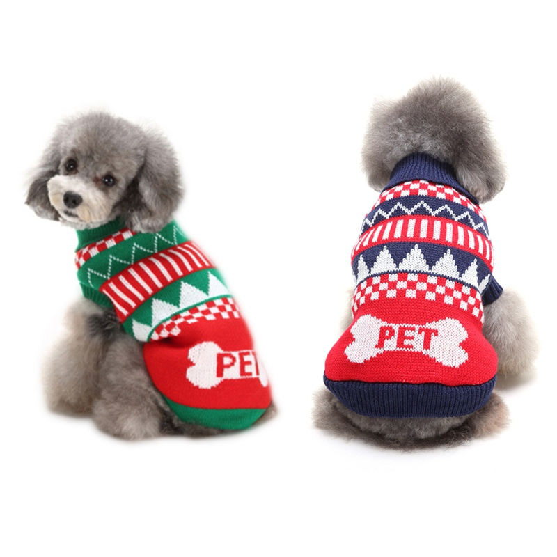 Christmas Dog Swearter Clothes Puppy Outfit Pet Jacket Coat Winter Warm Clothes Soft Sweaters Clothing For Small Dogs