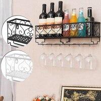 Wall Mounted Iron Wine Rack Bottle Champagne Glass Holder Shelves Bar Accessory