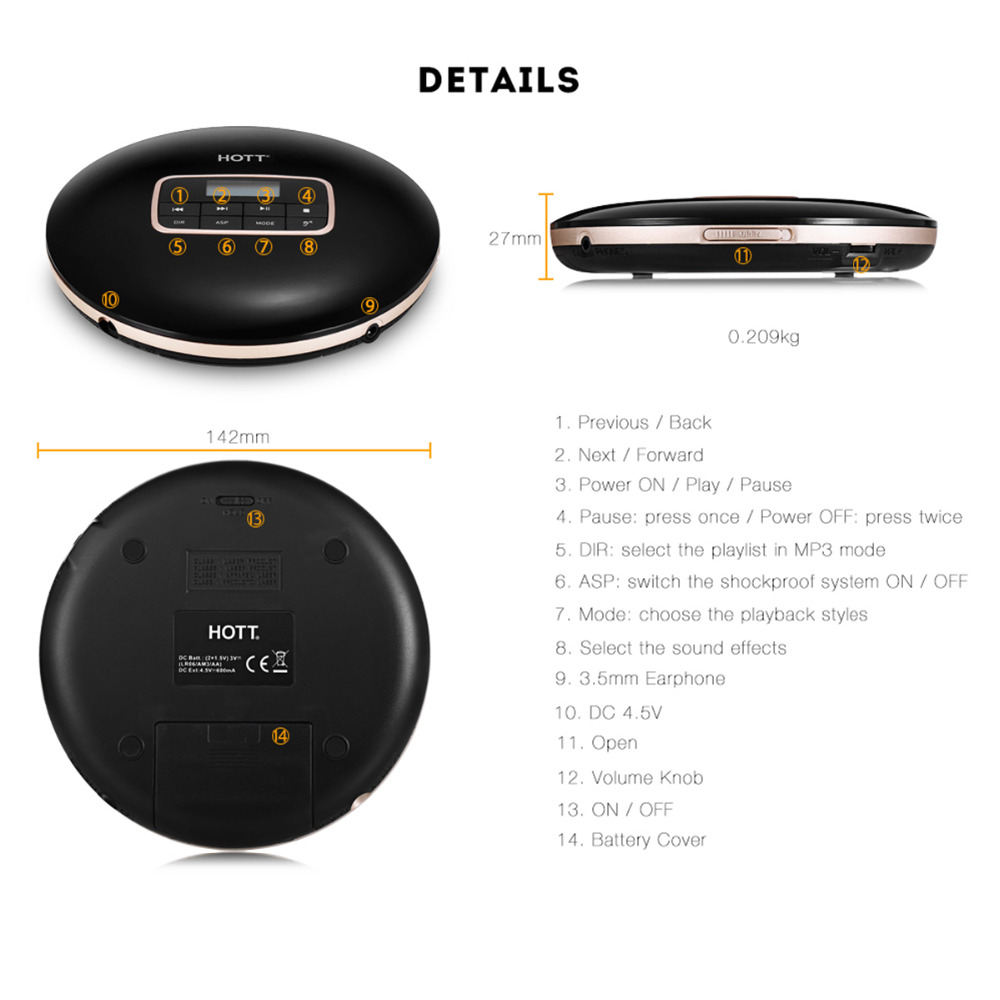 Detail Feedback Questions about Personal Portable CD Player with