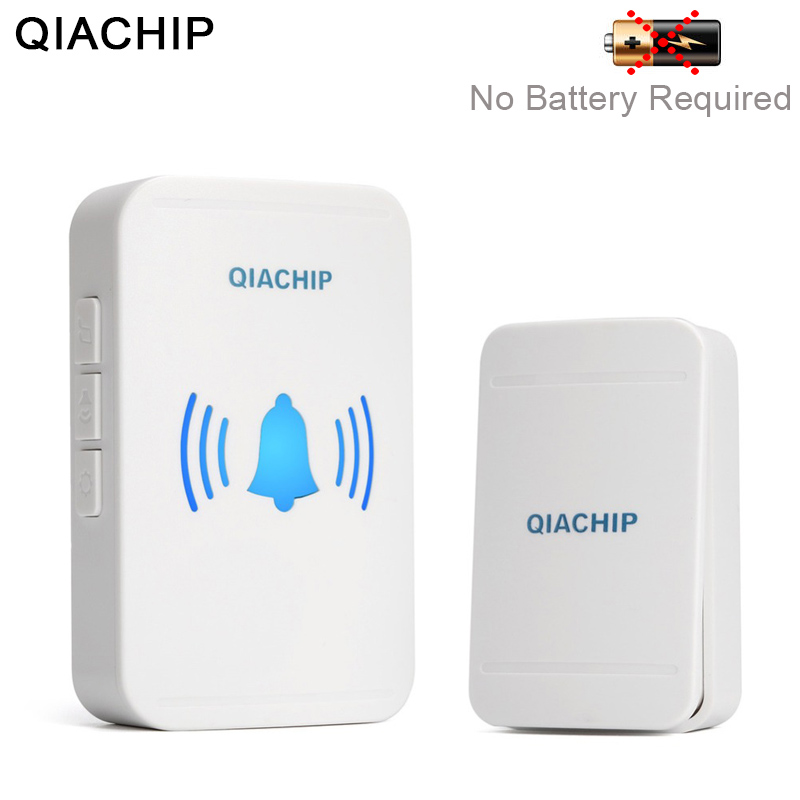 QIACHIP Self powered Home Waterproof Wireless Doorbell No Battery LED Light 200M Home Bell 38 Melodies 4 Levels Volume Door Bell-in Doorbell from Security & Protection