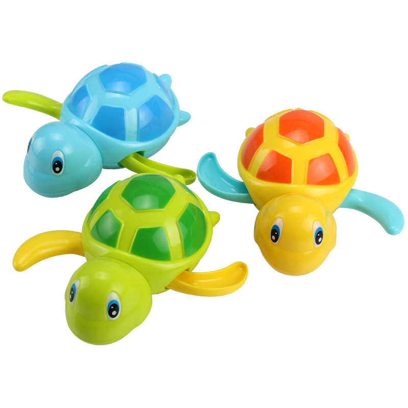 Single Sale Cute Cartoon Animal Tortoise Classic Baby Water Toy Infant Swim Turtle Wound-up Chain Clockwork Kids Beach Bath Toys newborn baby bath toy cute cartoon animal water thermometer duck bear pig crocodile cow kids temperature tester bathroom toys
