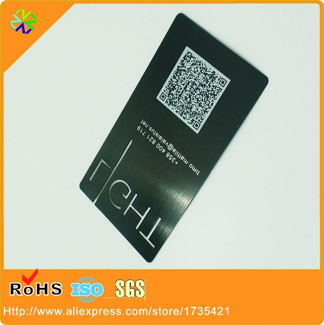 laser out black metal business cards with QR code(thickness 03mm