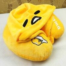Candice guo! super cute plush toy lazy egg gudetama soft U shape pillow hooded neck protection birthday Christmas gift 1pc