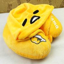 57c29bf73c06 Candice guo! super cute plush toy lazy egg gudetama soft U shape pillow  hooded neck protection birthday Christmas gift 1pc