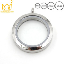 GLASS Locket Round Stainless Steel Floating Locket Necklace Silver Plain Screw Twist Living Glass Memory Locket Pendant 10pcs