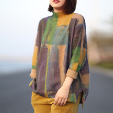 Johnature 2018 Autumn New Vintage Women Sweater Turtleneck Long Sleeve Print Floral Warm Mori Girl Casual Knitted Soft Sweaters