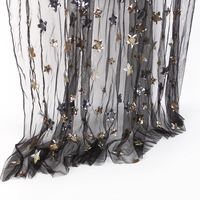 David Accessories 50 145cm Butterfly Sequin Star Embroidery Patch Printed Lace Tulle Fabric For Sewing Dress