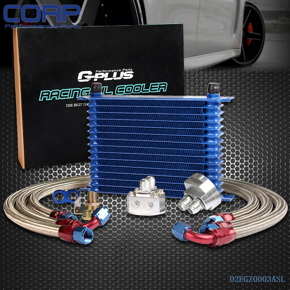 Gplus 15ROW 10AN Universal Alumium Engine Oil Cooler + Filter Relocation Kit