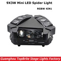 2017 New Arrival Mini LED 9X3W Spider Light RGBW Quad Color 12/43CH DMX Stage Lights Dj Disco Led Spider Moving Head Beam Lights